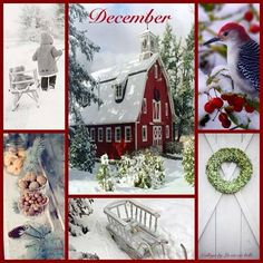 Christmas Collage, Christmas Mood, Noel Christmas, Country Christmas, Scenery Pictures, Winter Pictures, Collages, Winter Typ, Hello December