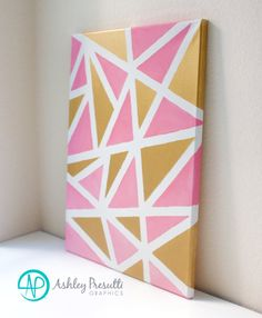 Pink and Gold Metallic Original Painting—Abstract Moodern Art—Contemporary Geometric Triangles—Baby Girl Nursery Home Decor by PresuttiGraphics on Etsy