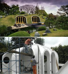 prefab earth-sheltered homes. Love this. Instant, modern Hobbit hole.
