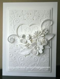 handmade wedding card by bertha1tx ... white on white ... embossing folder texture ... die cut layered flowers ...  beautiful design with lots of dimension ...