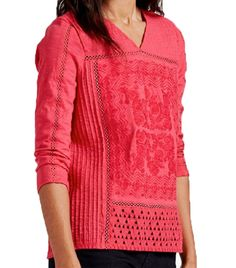 Lucky Brand Placed Embroidery Top Virtual Pink