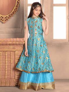 Shop Blue beige silk indo western style lehenga choli online from India. Kids Lehenga Choli, Anarkali Dress, Pakistani Dresses, Indian Dresses, Pakistani Clothing, Baby Girl Party Dresses, Little Girl Dresses, Baby Dress, Girls Dresses