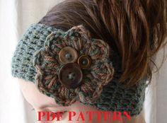 PDF PATTERN Crochet boho winter headband por threemagicsheep