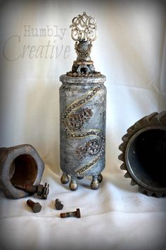 Industrial Gunmetal Altered Bottle by Humblycreative
