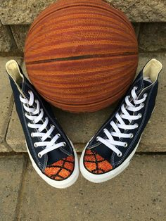 1d11b215d53e Items similar to Basketball Bling Converse High Tops. Toddler Custom Made  Converse. Birthday Outfit