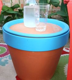 outdoor side table.  great for keeping your bug spray, sunscreen, candles, gardening tools in.