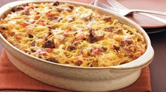 Enjoy this cheesy casserole made using Betty Crocker® Seasoned Skillets® hash brown potatoes, pork sausage and veggies – perfect for a brunch or dinner. Breakfast Bake, Make Ahead Breakfast, Breakfast Dishes, Breakfast Recipes, Breakfast Ideas, Breakfast Salad, Mexican Breakfast, Brunch Casserole, Casserole Dishes