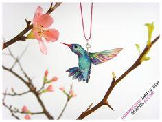 Kolibri Kette - Kolibri - blau-bunt - Anfertigung von fraufischersSpielwiese auf DaWanda.com