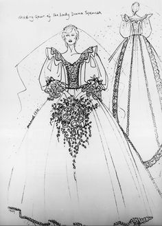 Princess Diana's Royal Wedding Dress Sketch - http://casualweddingdresses.net/royal-wedding-dresses-with-grace-and-elegance/
