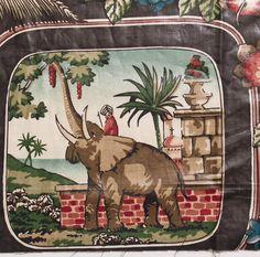VINTAGE 80'S AFRIQUE DECORATOR FABRIC MATERIAL SHEEN ELEPHANT GIRAFFE FLORAL 57 X 27