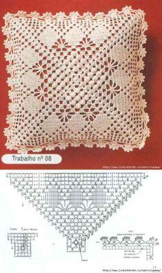24 new Ideas crochet pillow case cushion covers granny squares Crochet Pillow Cases, Crochet Pillow Pattern, Crochet Bedspread, Crochet Cushions, Crochet Stitches Patterns, Doily Patterns, Crochet Chart, Filet Crochet, Crochet Motif
