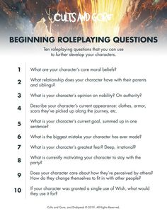 10 Beginner Roleplaying Questions - d100