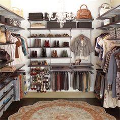 Walnut & Platinum elfa décor Master Walk-In Closet