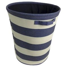 Circo™ Round Linen Basket - Blue Overalls Striped