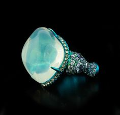 Arunashi Water Opal Ring with Diamonds & Sapphire #opalsaustralia