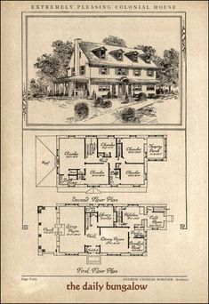 1000 images about vintage home plans on pinterest home Historic colonial house plans