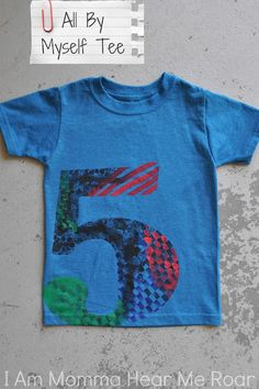 all by myself tee - the kid paints the shirt, this would be a fun activity