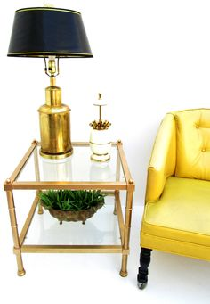 Vtg Hollywood Regency Gold Faux Bamboo Metal & by ElectricMarigold, $225.00