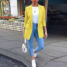 Women plain turn down collar long sleeve button blazers - ClothingI Blazer Outfits Casual, Blazer Outfits For Women, Blazer Fashion, Cute Casual Outfits, Sweater Fashion, Blazers For Women, Chic Outfits, Fall Outfits, Fashion Outfits