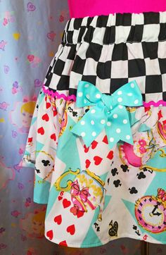 Alice in Wonderland tiered skirt fairy kei checker by missalphabet