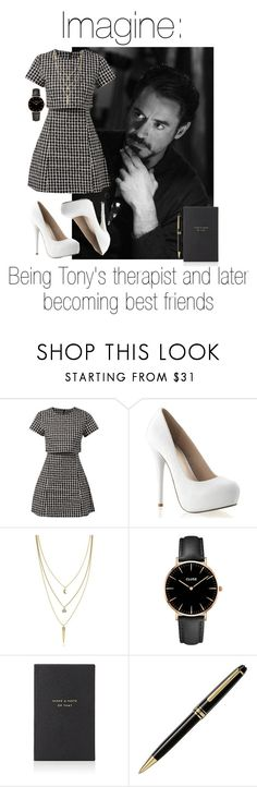 """""""Tony"""" by fangirlingciera ❤ liked on Polyvore featuring Fashion Union, Cole Haan, CLUSE, Smythson, Montblanc, marvel, ironman and TonyStark"""