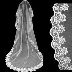 Sale 18% (9.98$) - 3M Large Tail Soft Yarn Lace Bridal Veil Wedding Accessories