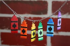 Crayola Style Crayon Perler Bead Necklace by WhiteMageInc on Etsy, $15.00
