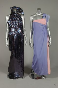 Jacqueline de Ribes lavender and pink silk crepe sari gown, 1980s ; together with a Serge Lepage/Schiaparelli pewter sequined evening gown, with wrap-around skirt, flounced collar