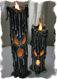 How to make PVC Flicker Candles for Halloween. These will work great on the front porch to greet your Halloween guests. Halloween Prop, Theme Halloween, Halloween Tutorial, Halloween Candles, Diy Halloween Decorations, Holidays Halloween, Halloween Crafts, Happy Halloween, Halloween Mantel