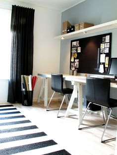 black and white office with a splash of color