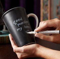 Chalkboard mug. Love taking my husband coffee in bed. I would love these :)