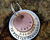 Custom Pet ID Tag - Mixed Metal in Copper, Bronze, and Aluminum. Hand Stamped Metal.