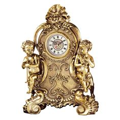 Crafted in Rocco style, the Design Toscano Saint Remy Cherub Clock features cherubs on each side, with both holding trumpets. This elegant clock. Mantle Clock, Desk Clock, Clock Decor, Tabletop Clocks, Rococo Style, Joss And Main, Antique Art, Polished Brass, Decoration