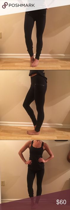 Lululemon Black Speed Tight Pant Black Lululemon Speed Tight with two front pockets and ruched zipper bottoms lululemon athletica Pants Leggings