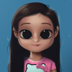 Cartoon, Portrait, Digital Art, Digital Drawing, Digital Painting, Character Design, Drawing, Big Eyes, Cute, Illustration, Art, Girl, Hello Kitty, Pink, Asian, Kid