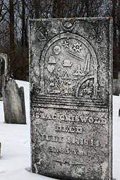 "This site has information about  some data bases and several ""how-to's"",  such as what to do when you're search is stumped (we've all been there!)                                        Numerous symbols decorate the tombstone of Isaac Griswold in the Old Cemetery in Benson, Vermont. Photo by Kimberly Powell."