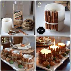Kerzen mit Zimtstangen