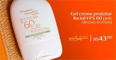 Aproveite o sol com o gel creme protetor facial FPS 60.Com toque seco,ideal para peles oleosas a mistas.Compre online com 20% de desconto.Aproveite!
