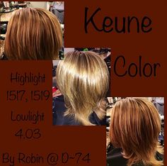 Keune color highlight... 1517, 1519 lowlight 4.03
