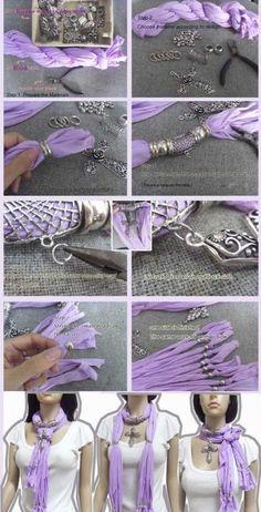 Шарфы с бижутерией для элегантных и очаровательных женщин - Своими руками