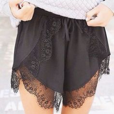 Black Shorts - Black Lace Trim Shorts with | UsTrendy