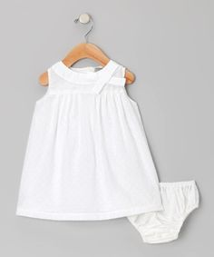 Take a look at this White Swiss Dot Dress & Diaper Cover - Infant & Toddler by Les Petits Soleils on #zulily today!