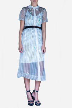 двухслойное платье миди из тонкой органзы в полосатый принт с цветочной вышивкой