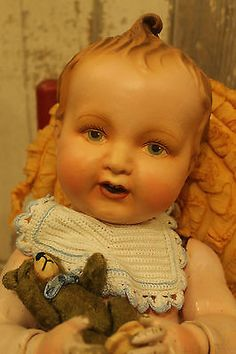 """Big 25"""" Composition full jointed body Elektra baby doll, old, antique, vintage"""