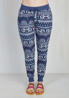 Herd Work Pays Off Lounge Pants. After a gratifying day of volunteering, treat yourself to a cozy evening in these elephant-printed lounge pants. #blue #modcloth