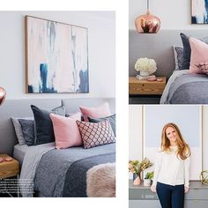 The gorgeous master bedroom featured in @adoremagazine was filled with all my favourite colors - greys, pinks and dark moody blues with hints of copper! #mainbedroom #masterbedroom #adoremagazine2016