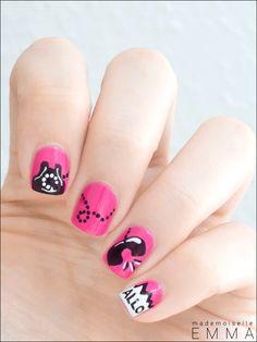 #nails #pink #black #white #phone #creative #loveee