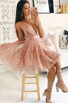 A-Line V-Neck Above-Knee Blush Homecoming Dress with Pleats Dresses Short, Nice Dresses, Semi Dresses, Party Gowns, Party Dress, Party Wear, Lace Homecoming Dresses, Graduation Dresses, Dress Prom