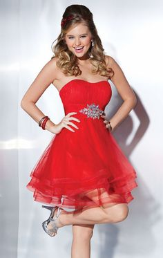 MZ0599 Short Mini A-Line Sweetheart Strapless Hot Red Organza Rhinestones Homecoming and Party Dresses $95.89
