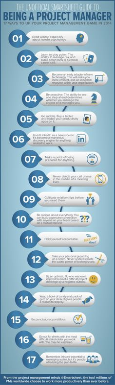 The Unofficial Smartsheet Guide to Being a Project Manager by Smartsheet via slideshare http://480degrees.com/